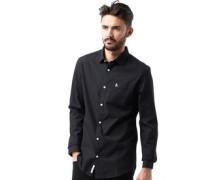 Herren Poplin Hemd mit langem Arm Schwarz/Weiß