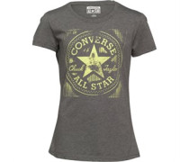 Womens Enlarged Chucks Varsity Graphic T-Shirt Black Heather