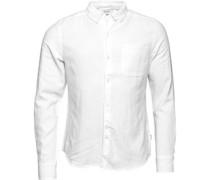 Bellfield Herren Connaught Linen Hemd mit langem Arm Weiß