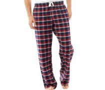 Herren Geprüft Pyjama Hosen Navy Kariert