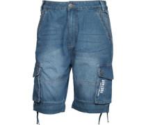 Firetrap Herren Eleko Mid Cargo Shorts Blau
