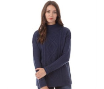 Damen Turtleneck Cable Strick Blau