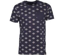 Mens Berdan All Over Print T-Shirt Navy/Ecru