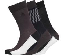 Mens 3 Pack Socks Gun Metal/White/Marine Blue