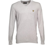 Lyle And Scott Vintage Mens V Neck Cotton Jumper Light Grey Marl