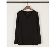 Shirt mit V-Ausschnitt Schwarz