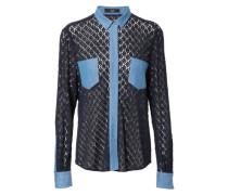 Bluse mit Lochmuster Marinenblau