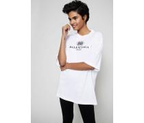 Oversized T-Shirt mit frontalem Aufdruck Weiß