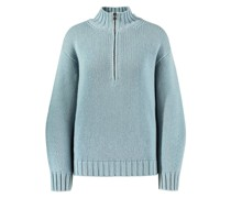 Cashmere-Pullover mit Zipper-Detail 'Joyce' Aqua