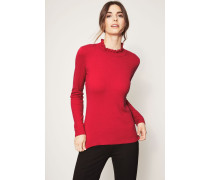 Pullover mit Volant-Details Rot