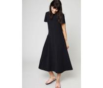 Kurzarm-Kleid 'Jovana' mit Ziernähten Schwarz