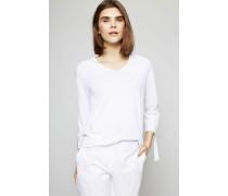 Langarmshirt mit Perlenverzierung Weiß