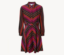 Leicht ausgestelltes Blusenkleid mit Streifenprint 'Chrissie' Multi