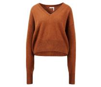 Cashmere-Pullover mit V-Ausschnitt Rostbraun