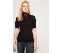 Kurzarm-Pullover mit Streifendesign Schwarz