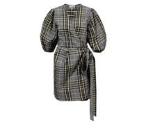 Baumwollkleid mit Bindegürtel und Checkmuster