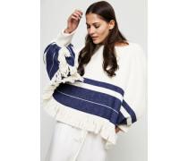 Wollgemisch-Pullover mit Fransendetails Blau/Cremé