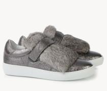 Sneaker mit Fellverzierung 'Lucie' Silber/Weiß