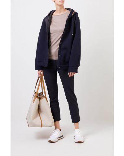 Cashmere-Pullover mit Lurexdetails Beige