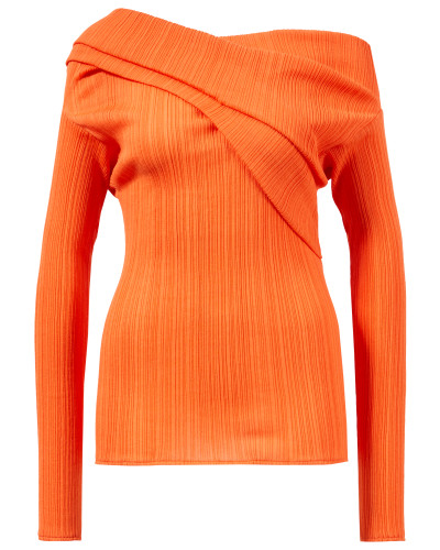 Plissiertes Baumwoll-Shirt Orange