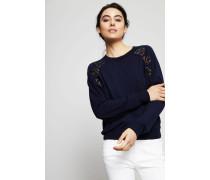 Woll-Pullover mit Heckel-Details Marineblau