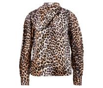 Seiden-Bluse mit Bindedetail Leopard