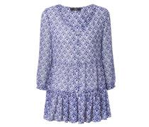Bluse mit Print Weiß/Blau