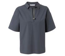Kurzarm-Bluse mit Verzierung Navy