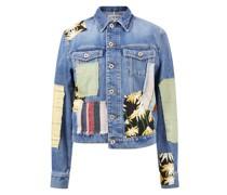 Jeansjacke mit farbigen Patches