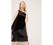 Samt-Kleid mit semitransparenten Details Schwarz