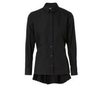 Bluse mit rückseitigen Plisséefalten Schwarz