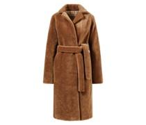 Fake Fur Mantel mit Bindegürtel