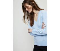 Cashmere-Pullover mit V-Ausschnitt Hellblau
