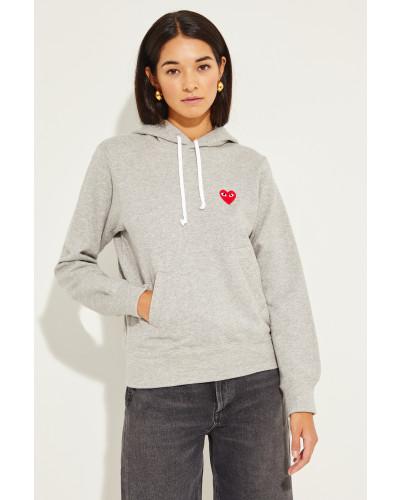 Hoodie mit Herz-Emblem Grau