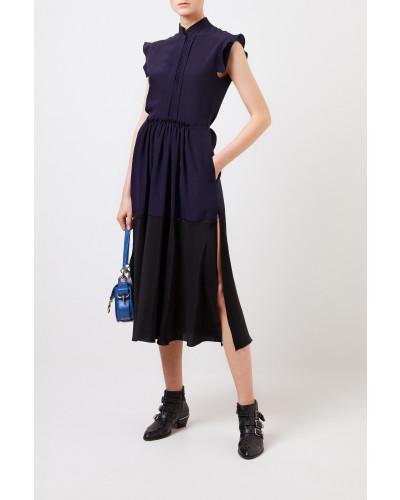 Langes Seidenkleid Marineblau/Schwarz