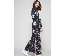 Langes Hemdblusenkleid mit floralem Muster Multi