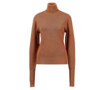 Leinen-Seiden-Pullover mit Rollkragen Rostbraun