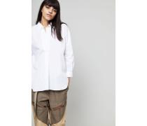Oversize Bluse mit V-Ausschnitt Weiß