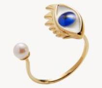 Ring 'Blue Pearl' mit sehendem Auge Gold/Blau