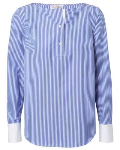 Gestreifte Baumwoll-Bluse mit abgesetzten Manschetten Blau/Weiß