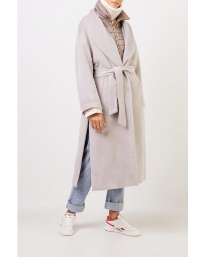 Alpaca-Woll-Mantel mit Dauneneinsatz Beige