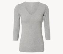 Basic Shirt mit 3/4-Ärmeln Grau Melange