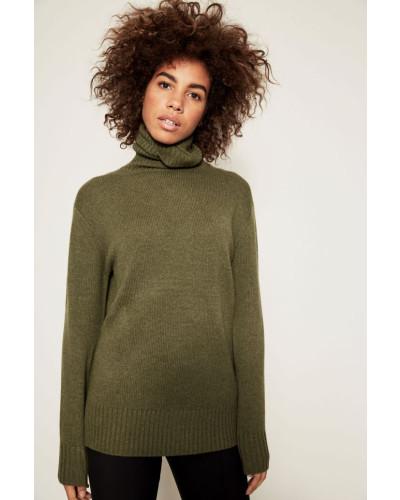 Cashmere-Pullover mit Rollkragen Grün