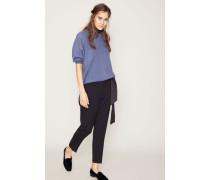 Wollhose mit Bundfalte Blau
