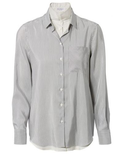 Gestreifte Seiden-Bluse Grau/Weiß