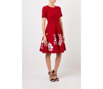 Strickkleid mit floralem Print Rot/Weiß