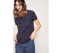 T-Shirt 'Logo-Flockprint Marineblau