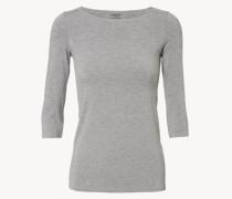 Basic Shirt mit ovalem Ausschnitt Grau Mélange