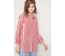 Gestreifte Baumwolle-Bluse Rot/Weiß