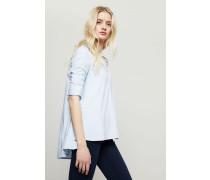 Baumwoll-Bluse mit Raffungen Blau
